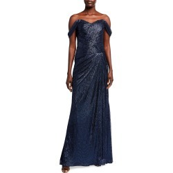 Off-the-Shoulder Metallic Side-Drape Gown found on MODAPINS from neimanmarcus.com for USD $1395.00