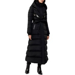 Long Hooded Down Coat w/ Sheepskin Bib