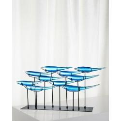 Decorative 10 Blue Fish Art Glass Sculpture