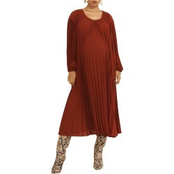 Maternity Juno Scoop-Neck Long-Sleeve Pleated Dress found on MODAPINS from neimanmarcus.com for USD $800.00