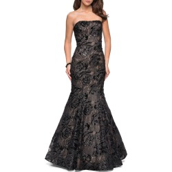 Sequin Strapless Mermaid Gown