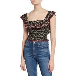 Athena Smocked Floral-Print Top found on MODAPINS from neimanmarcus.com for USD $118.00