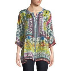 Theda Printed Tunic w/ Pompom Trim, Petite found on Bargain Bro Philippines from neimanmarcus.com for $135.00