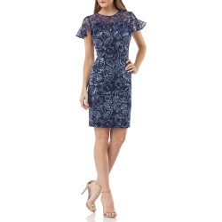 Embroidered Ruffle-Sleeve Cocktail Dress found on MODAPINS from neimanmarcus.com for USD $338.00