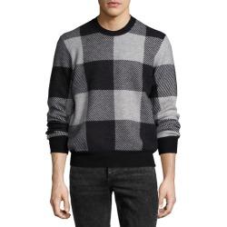 Addison Gingham Jacquard Felted Wool Crewneck Sweater, Light Gray/Black