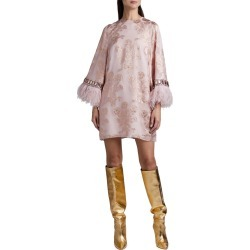 Feather-Cuff Metallic Cocktail Dress found on MODAPINS from neimanmarcus.com for USD $3220.00