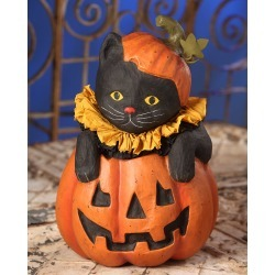 Cat in Jack-O-Lantern Halloween Decor