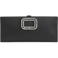 Pilgrim Strass-Buckle Satin Clutch Bag, Black found on MODAPINS from neimanmarcus.com for USD $1675.00