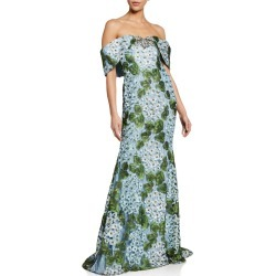 Floral Lace Off-the-Shoulder Gown found on MODAPINS from neimanmarcus.com for USD $829.00