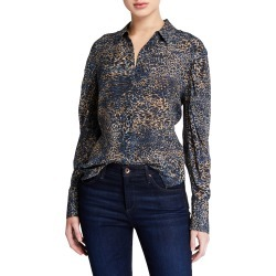 Ori Animal-Print Button-Down Long-Sleeve Silk Blouse found on Bargain Bro India from neimanmarcus.com for $378.00