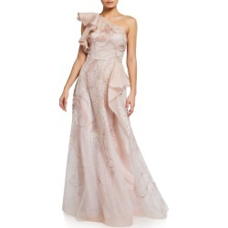 Embroidered Organza One-Shoulder Gown found on MODAPINS from neimanmarcus.com for USD $909.00