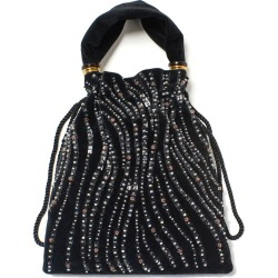 Gala Small Drawstring Beaded Velvet Wristlet found on MODAPINS from neimanmarcus.com for USD $320.00