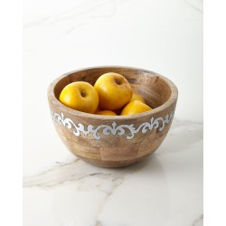 Mango Wood Tall Serving Bowl with Metal Inlay found on Bargain Bro Philippines from neimanmarcus.com for $135.00