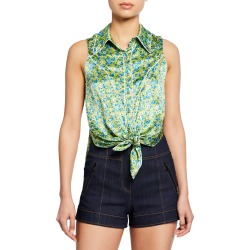 Leon Floral Tie-Front Sleeveless Top found on Bargain Bro Philippines from neimanmarcus.com for $144.00
