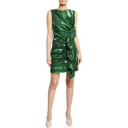 Ruched Abstract-Print Mini Dress found on MODAPINS from neimanmarcus.com for USD $830.00