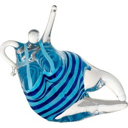 Happiness Glass Sculpture, Turquoise/Blue