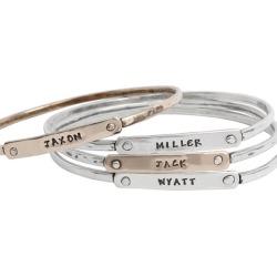 Stacking Custom Bangle Bracelets for Four Children, Silver and Gold, Beloved Bangle Bracelets