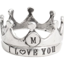 Crown Ring, Silver Stamped Initial Ring