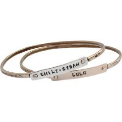 Stacking Custom Bangle Bracelets for Five Grandchildren, Silver and Gold, Beloved Bangle Bracelets
