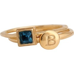 Stackable Mother's Rings with Initial Rings and Birthstone Rings in Gold, Set for One Child