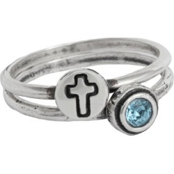 Christian Rings, Stackable Initial and Birthstone Ring Set
