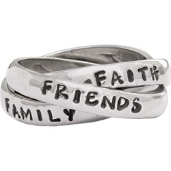 Personalized Christian Rings, Triple Band Silver Ring