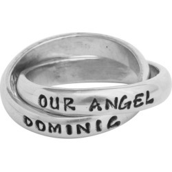 Memorial Jewelry, Customized Double Ring Silver