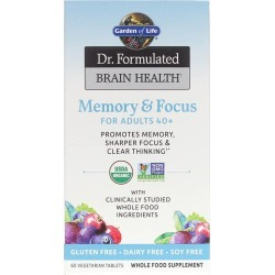 Garden of Life Dr. Formulated Brain Health Memory & Focus for Adults 40+ 60 Veg Tablets