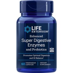 Life Extension Enhanced Super Digestive Enzymes with Probiotics 60 Veg Capsules