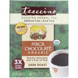 Teeccino Herbal Coffee Organic Maca Chocolate Dark Roast Tea 10 Tea Bags