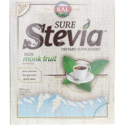 Kal Sure Stevia Plus Monk Fruit Powder 100 Packets
