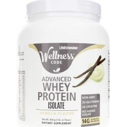 Life Extension Wellness Code Advanced Whey Protein Isolate Vanilla 1 Lbs