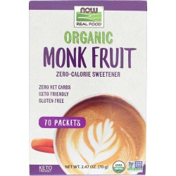NOW Foods Organic Monk Fruit Sweetener Packets 70 Packets