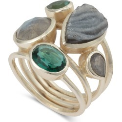 Nador Stone & Twist Statement Gold Plated Ring found on Bargain Bro UK from Oliver Bonas Ltd