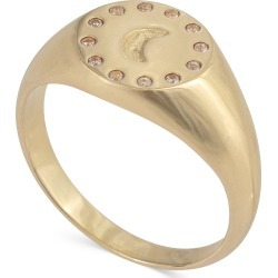 Crescent Moon Engraved Gold Plated Signet Ring found on Bargain Bro UK from Oliver Bonas Ltd