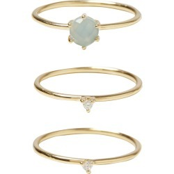 Elif Aqua Calci Cluster Gold Plated Stacker Rings Set of Three found on Bargain Bro UK from Oliver Bonas Ltd