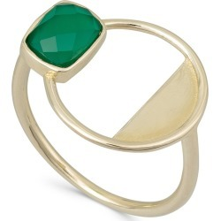 Myrtle Green Onyx & Gold Plated Ring