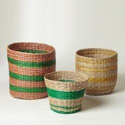 Striped Seagrass Storage Baskets Set of Three found on Bargain Bro UK from Oliver Bonas Ltd