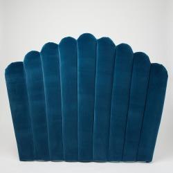 Flora Azure Blue Velvet Headboard Double