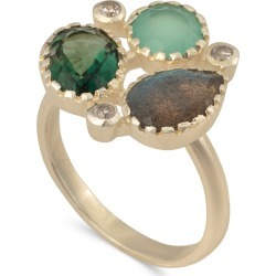 Arcelia Green Mixed Stones Gold Plated Ring