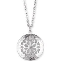Aromatherapy Diffuser Locket - Large Round Antique Silver