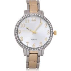 NY&C Women's Two-Tone Quartz Watch with White Dial & Rhinestone Studs