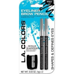 LA Colors Eyeliner & Brow Pencil with Sharpener, Black