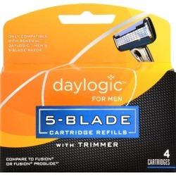 Daylogic for Men 5-Blade Refill w/ Trimmer - 4 ct