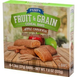 Pampa Fruit & Grain Cereal Bars, Apple Cinnamon - 6 ct