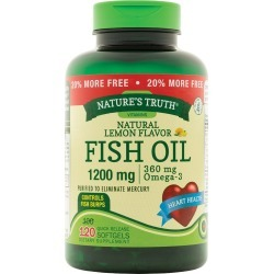 Nature's Truth Omega-3 Fish Oil 1200 mg Natural Lemon Flavor, 120 Capsules