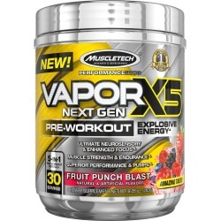 MuscleTech Vapor X5 Next Gen Pre Workout Powder, Fruit Punch Blast - 9.6 oz