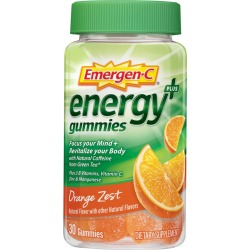 Emergen-C Energy+ Dietary Supplement Gummies, Orange Zest - 30 ct