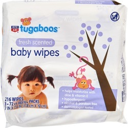 Tugaboos Baby Wipes, Scented - 216 ct