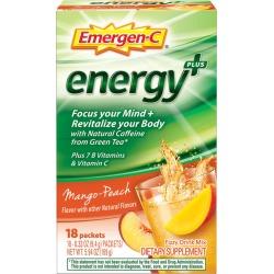 Emergen-C Energy+ Dietary Supplement Drink Mix, Mango-Peach - 18 ct